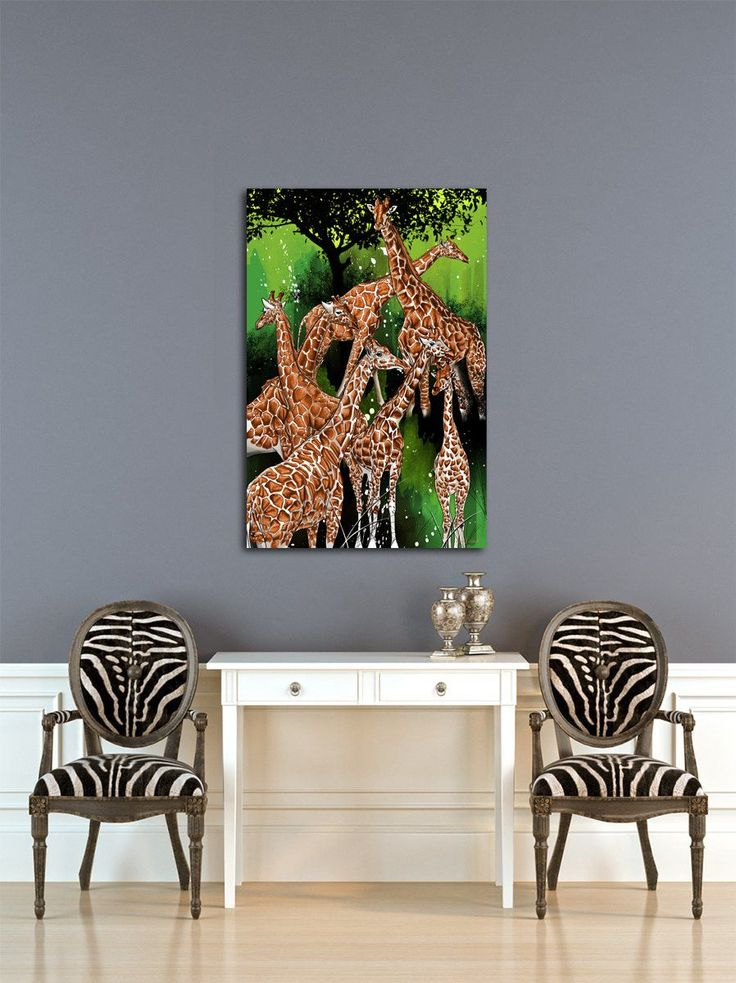 'Group of Giraffe' Animal Graphic Art on Wrapped Canvas