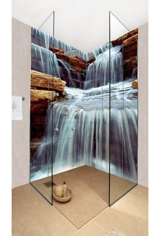 Shower tile ideas for a lovely bathroom tile ideas bath for Waterfall design tiles