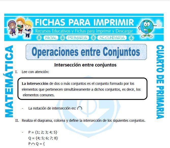 Ficha De Operaciones Entre Conjuntos Para Cuarto De Primaria Teoría De Conjuntos El Plano Cartesiano Problemas Matemáticos