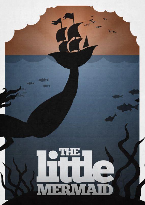 Disney's The Little Mermaid Minimalist Poster by rowansm on Etsy, twenty dollars (I don't like the etsy price banner blocking the image) I LOVE this.