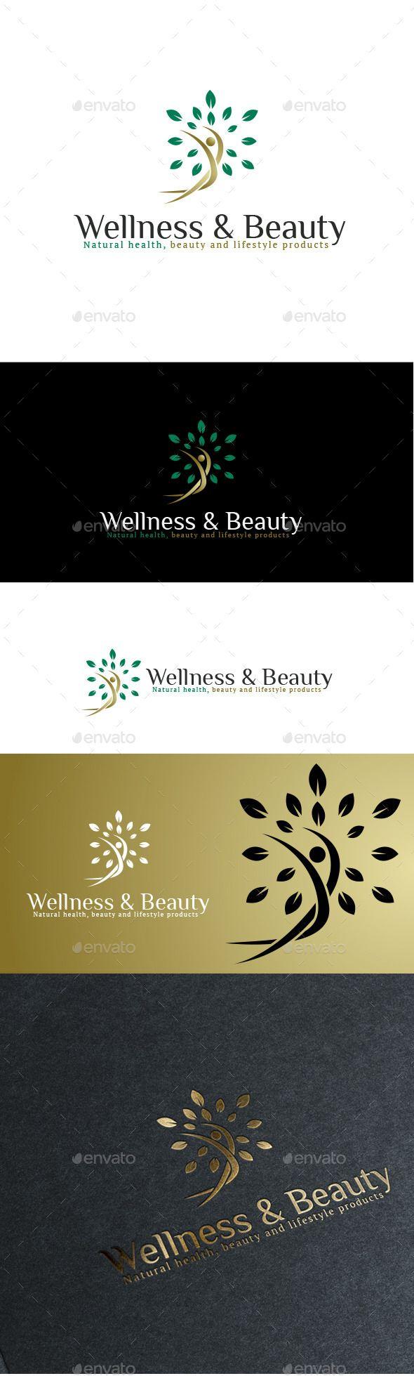 Naturals Wellness & Beauty - Logo Design Template Vector #logotype Download it here: http://graphicriver.net/item/naturals-wellness-beauty-logo/11020755?s_rank=560?ref=nexion