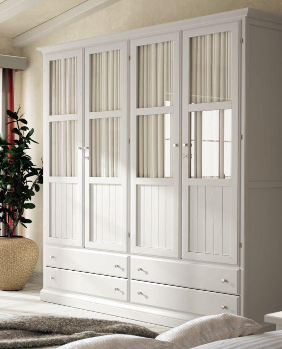 #Armario #clásico con 4 puertas de cristal, opciones varias: puertas de madera, mas de 30 acabados diferentes y medidas opcionales, entra en nuestra web: http://rusticocolonial.es/mueble-clasico/muebles-de-dormitorio-clasicos/armarios-cl%C3%A1sicos/armario-4-puertas-blanco-detail