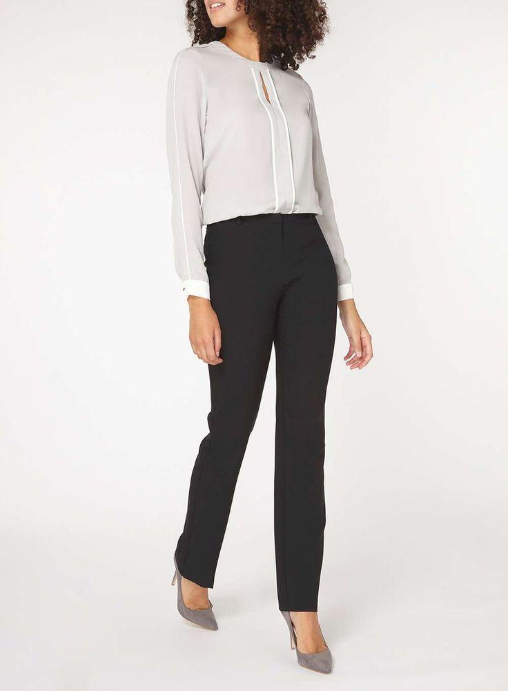 Womens **Tall Black Slim Leg Bootcut Trousers- Black