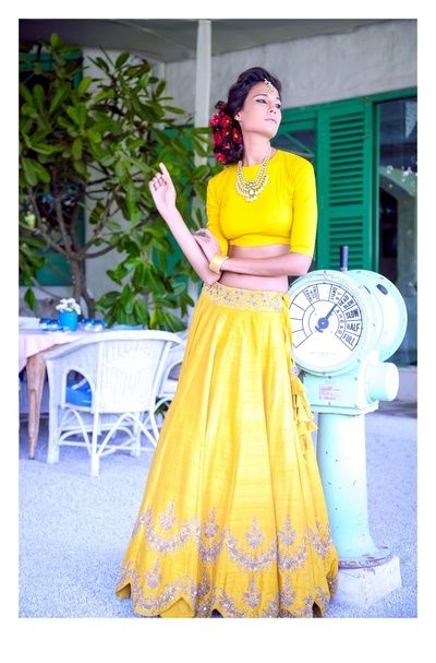 bright yellow lehenga , bright yellow plain blouse , long sleeves blouse sequinned waist band , silver work lehenga , pretty , day function , simple and nice , brides friend , mehendi function