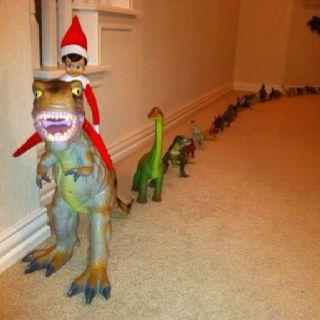 Conduit une parade de jouets (dinosaures ici, mais ça peut être des peluches ou personnages ou autres)
