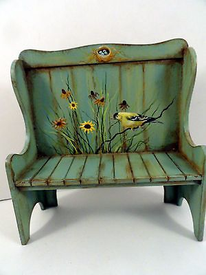 KAREN MARKLAND SETTLE BENCH WITH BIRD SCENE