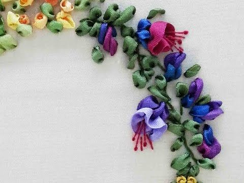 Tour Embroidery Ribbon Garland Online Tutorial Lesson 8 of 8: Fuchsia - YouTube