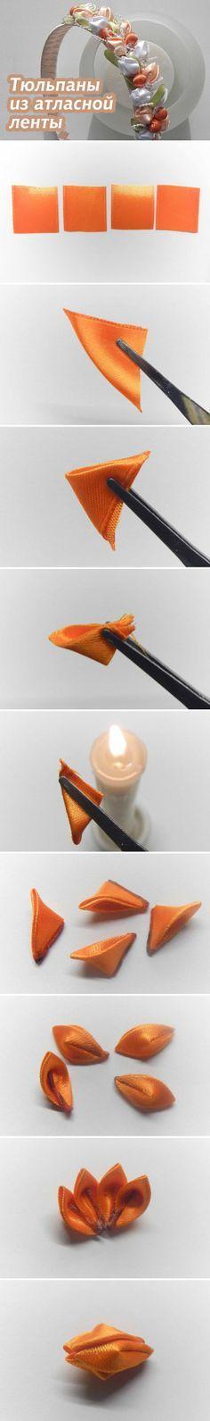 """Как сделать маленькие тюльпаны из атласной ленты в технике """"цумами канзаши"""" / Textile Tulips (tsumami kanzashi)"""