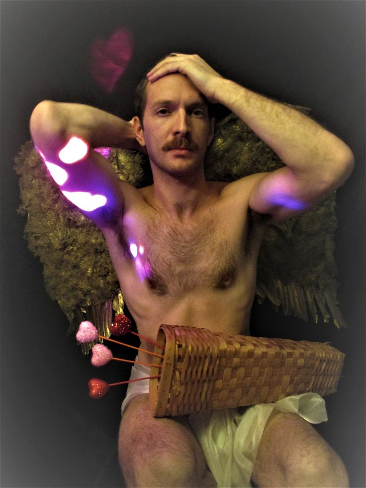 Valentine's day Cupid man male costume muscle hunk nude Valentine arrow mustache