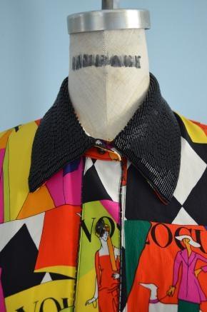 80's Starrington 100% Silk Fashion Vogue Print & Sequins Blouse - #style.ly $79