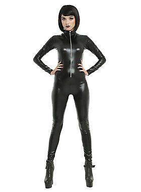 Purrrrfect Catsuit // Black Lame' Zipper Front Catsuit