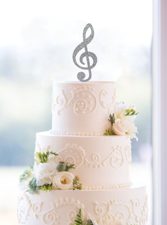 Music Note Wedding Cake Topper Music Cake Topper by ChicagoFactory