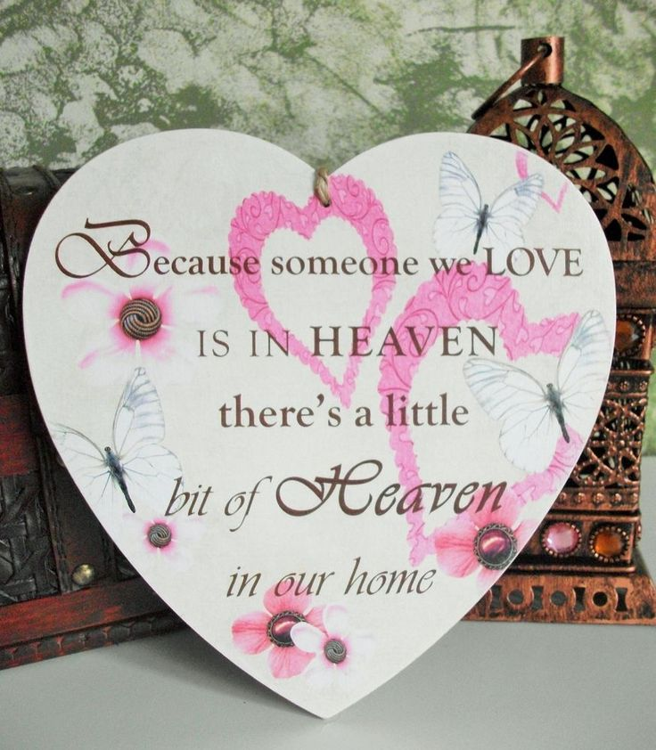 Because someone we love is in heaven heart, HANDMADE plaque - pinks
