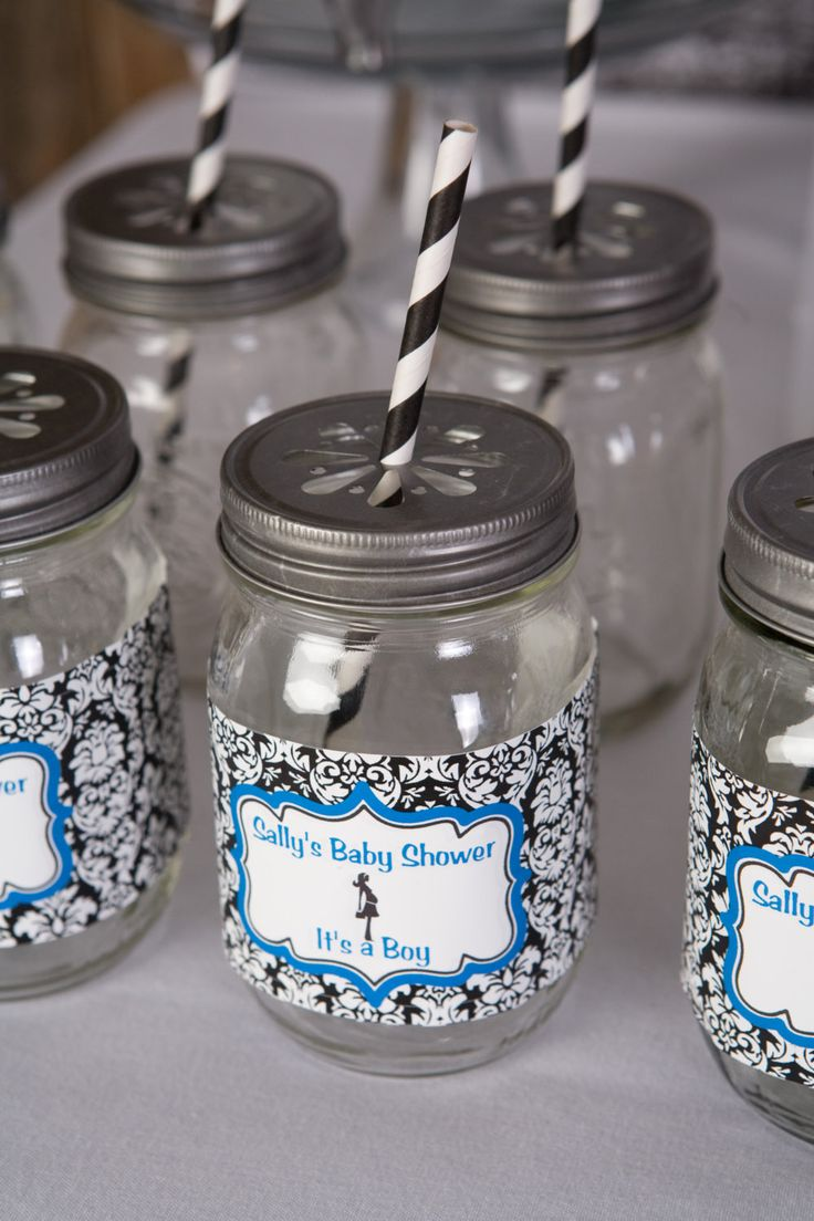 Baby Shower Decorations - Water Bottle Labels - Mom to Be Theme in Aqua Blue & Black Damask (12)