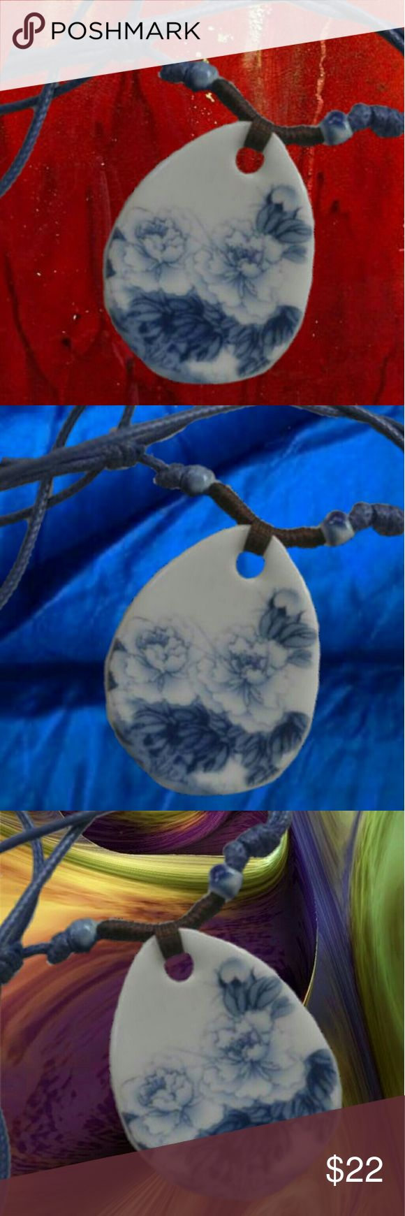 Blue & White FlowersPorcelain Ceramic Pendant Nec Blue & White FlowersPorcelain Ceramic Pendant Necklace – Hand Painted  .  100% Handmade Porcelain Ceramic Pendant Necklace. Brand new and high quality each necklace is unique as it is handmade!  .  Colors: Blue & White with Blue Adjustable Cord  Materials: Porcelain/Ceramic Pendant, Ceramic Beads & Waxed Leather Cord Pendant Diameter: approx. 3.5cm  Length: Adjustable  .  Please Note: Color may vary slightly due to the color calibration of…