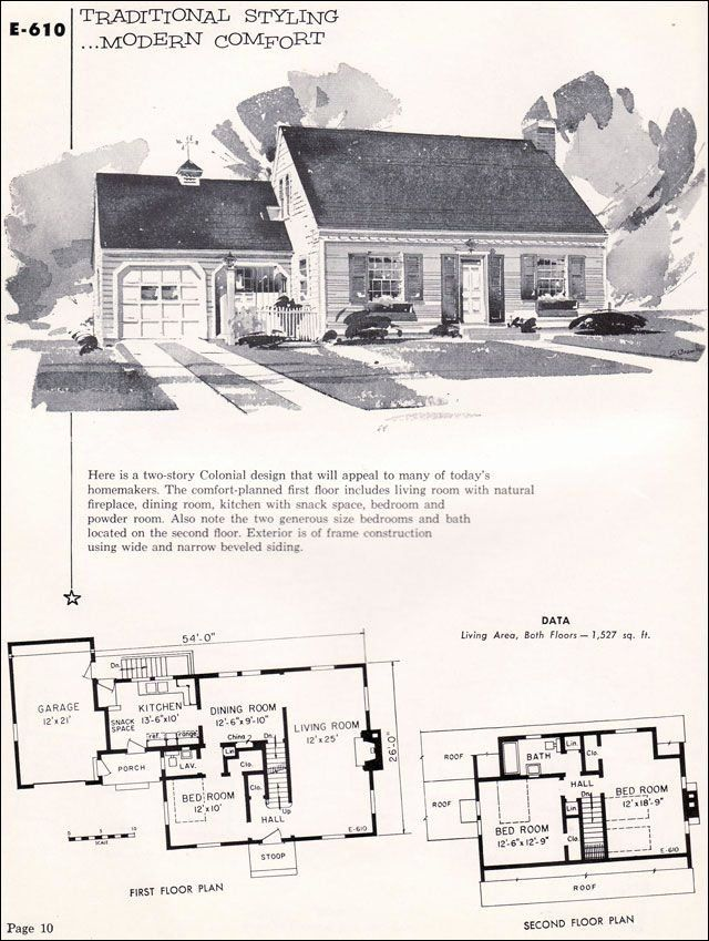 1950s Cape Cod House Plans Elegant 1955 National Plan Service No E 610 In 2020 Vintage House Plans Cape Cod House Plans Cape Cod House