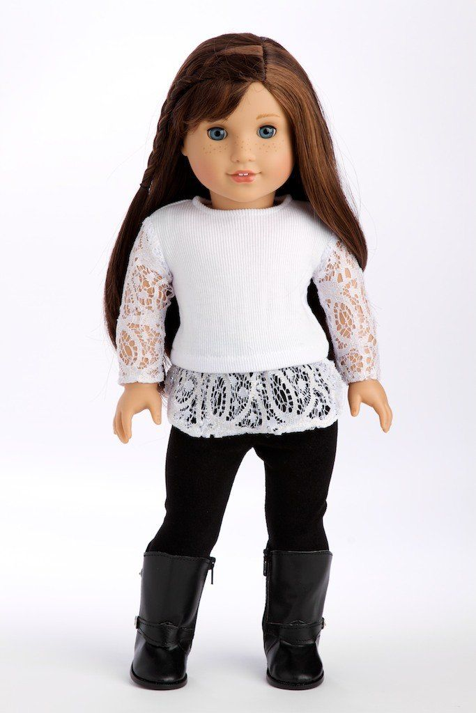 Amazon.com: Just Fun - White blouse, black leggings and black boots - 18 inch American Girl Doll Clothes: Toys & Games