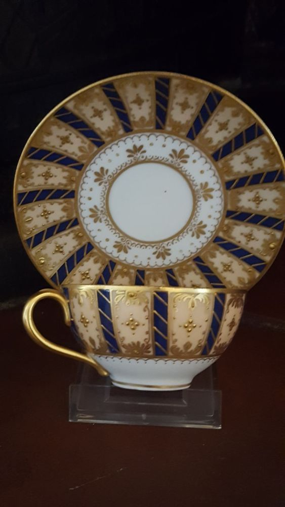 Extremely rare! It's handpainted with very small and beautiful details. Both cup and saucer has excellent condition. With fine 24K gold.No chips, cracks, craquelees or any other issues. Gold is not worn!   eBay!