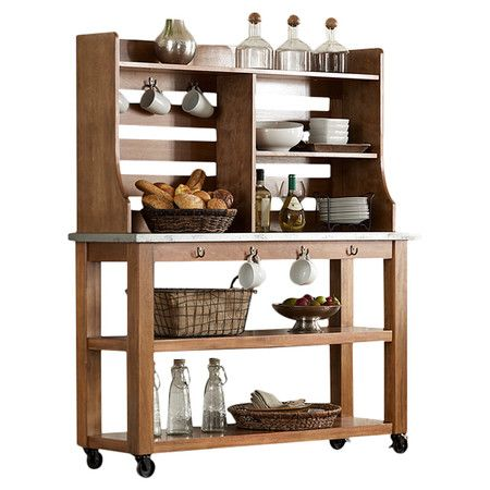 Featuring 4 shelves and 7 hooks for stowing dinnerware, coffee mugs, or dry goods, this rubberwood hutch and server offer versatile storage space for your we...