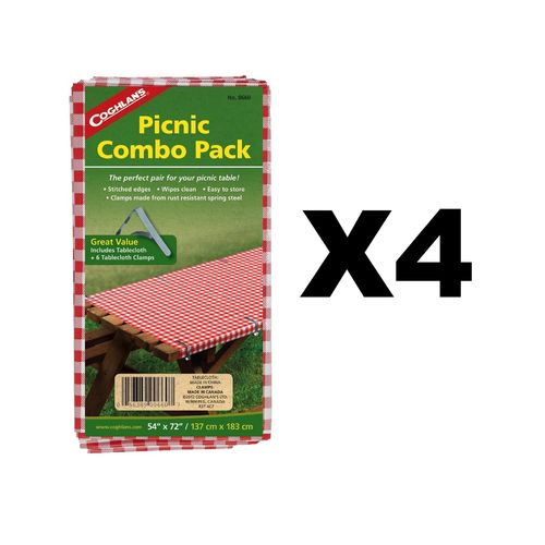 "Coghlan's Picnic Combo Pack 54""""x72"""" Tablecloth +6 Spring Steel Clamps (4-Pack)"