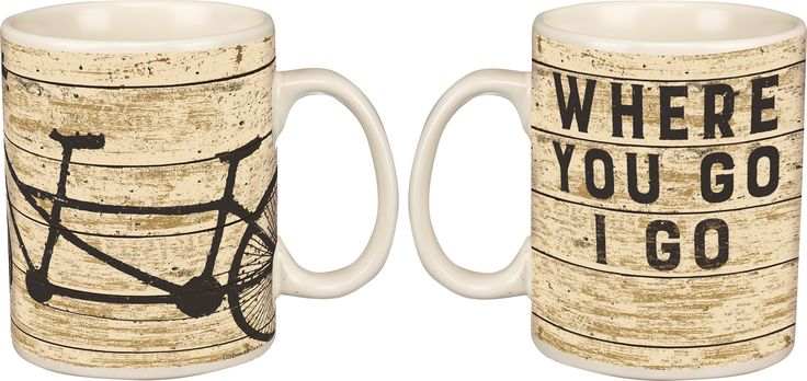 Where You Go I Go - Vintage Travel Themed 20-oz Mug with Tandem Bicycle Built for Two