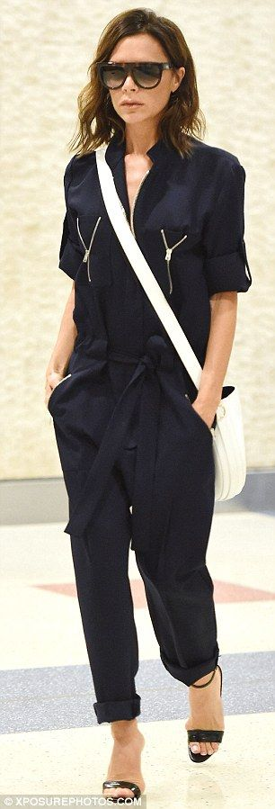 Victoria Beckham steps out wearing chic plunging jumpsuit in NYC | Daily Mail Online