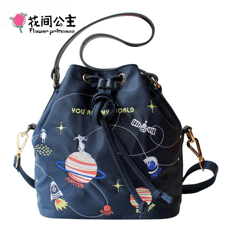 Flower Princess Brand Nylon Bucket Bag Teenager Girls Drawstring Shoulder Bags Crossbody Messenger Bag for Girls bolsos mujer