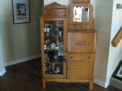 Lovely Early 1900s Antique Oak Secretary W Drop Leaf Desk