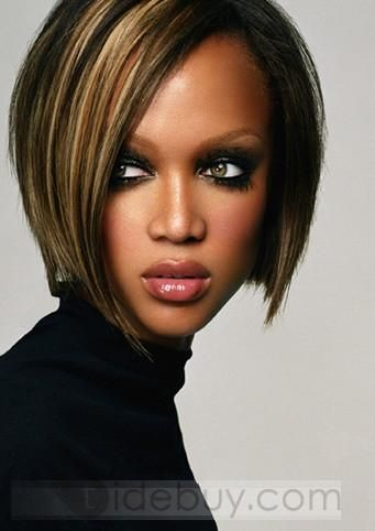 Custom Tyra Banks Hairstyle Lace Front Wig Straight 100% Human Hair 10 Inches : Tidebuy.com