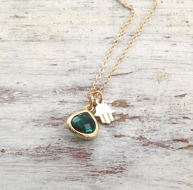 Gold necklace, hamsa necklace,green and gold, gold filled, emerald glass pendant and tiny gold hamsa - 3310