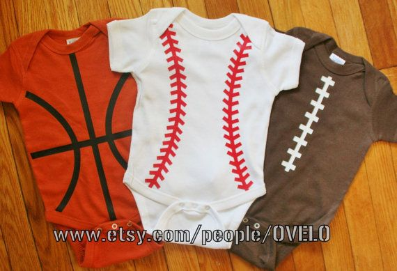 Sports Fanatic Trio Baby Bodysuits Basketball, Baseball and Football on Etsy, $45.00