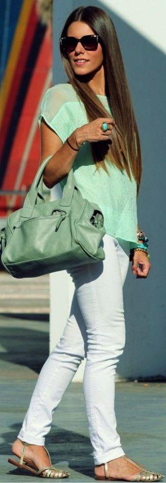 pantalon blanco - camiseta & complementos verde - menta
