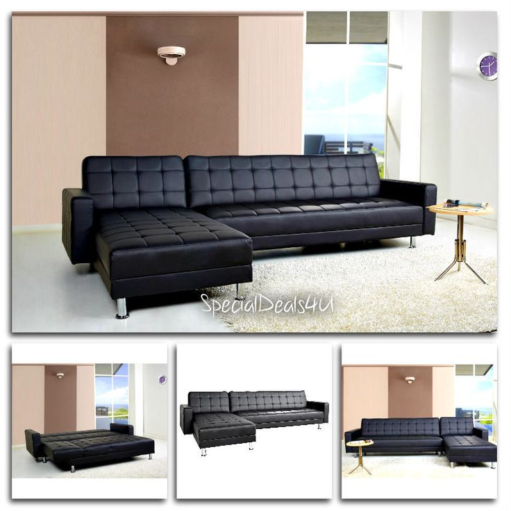 Leather Sectional Sofa Bed Sleeper Modern Couch Furniture Living Room Chaise PU #WadeLogan #Modern