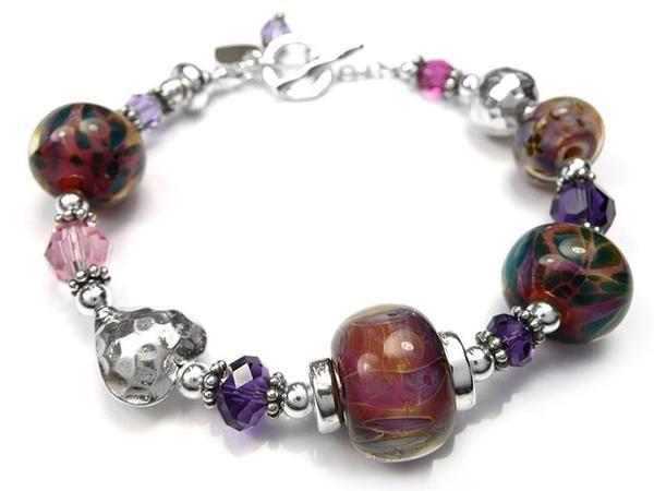 Lampwork Glass Bracelet - Phoenix
