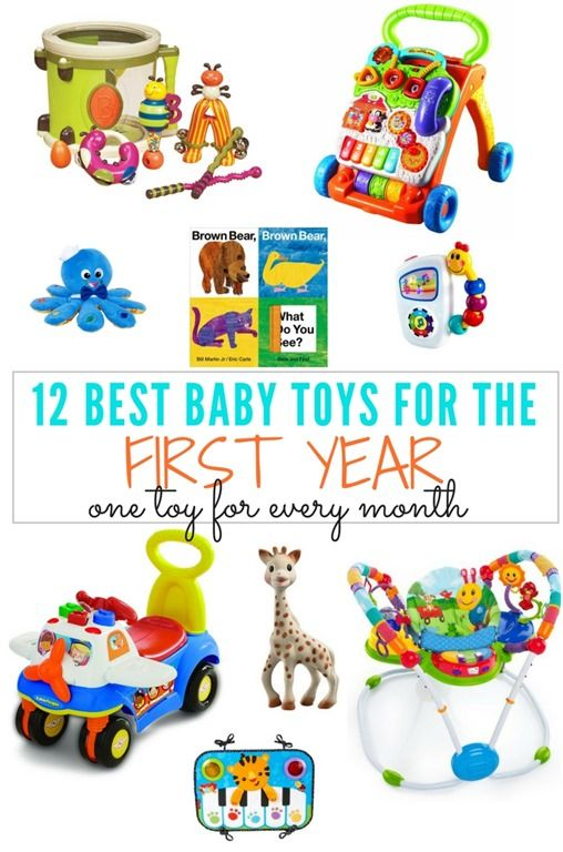 A roundup of the 12 Best Baby Toys For the First Year, categorized by month with one awesome baby toy for each month! Mom and baby-approved!