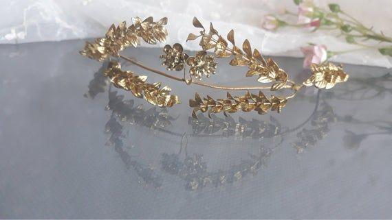 Golden Myrtle Tiara Vintage German Wedding Myrtle Crown Gold Hair Wreath Antique Golden Bridal Crown With Lapel Pin 1930s Tiara Deutsche Hochzeit Haarschmuck Braut Brautkrone