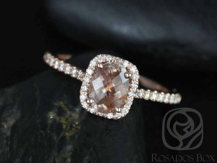 Romani 7x5mm 14kt Rose Gold Oregon SunStone and Diamonds Cushion Halo Engagement Ring (Other Center Stone Available Upon Request) by RosadosBox on Etsy https://www.etsy.com/listing/126147962/romani-7x5mm-14kt-rose-gold-oregon