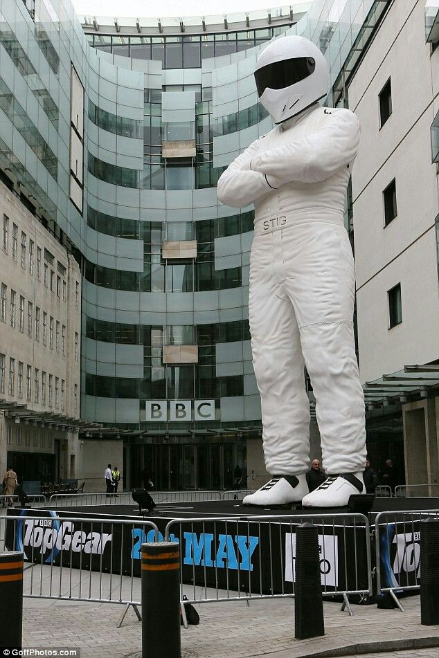 """Top Gear's giant 100 feet statue titled, """"The Stig."""" It was erected infront of The British Broadcasting Corporation Building in May, 18th 2016. I love Top Gear. It is a great British television series about modern and vintage motor vehicles."""