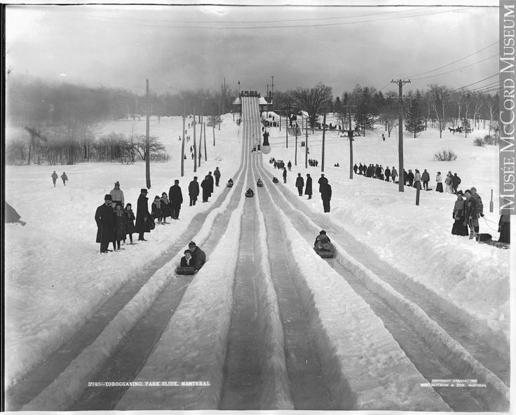 Descente en toboggan, Montréal, QC, Wm. Notman & Son, 1904, 20e siècle // Tobogganing, park slide, Montreal, QC, Wm. Notman & Son, 1904, 20th century