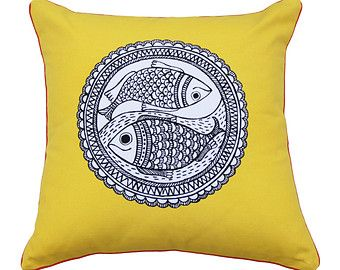 Madhubani folk art decorative pillows / throw by thefolkloric