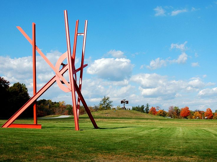 "Nature and art combine in tranquil harmony at Storm King Art Center. The 500-acre site, located 1 hour north of NYC, is home to more than 100 carefully placed sculptures. The landscape's design was the vision of a retired businessman, Ralph Ogden, who founded Storm King in 1960. As you stroll the fields in the lower Hudson Valley, you'll see massive works of sculpture such as this piece, ""Mozart's Birthday,"" by sculptor Mark di Suvero."