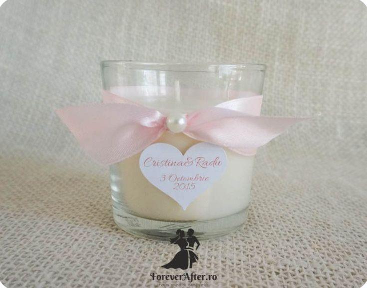 Marturie nunta lumanare parfumata in pahar Vanilla Love