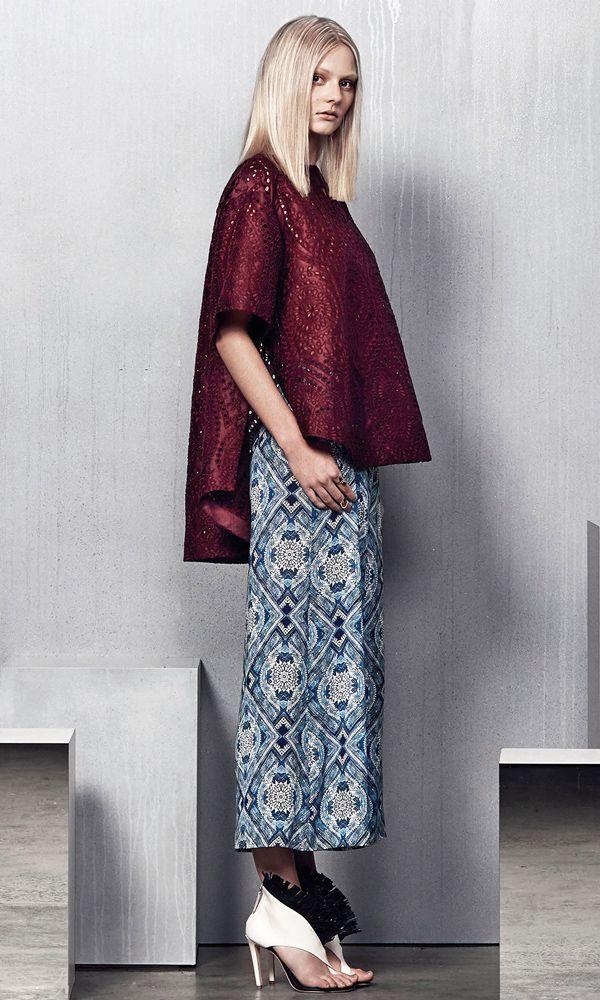Stylish bohemian summer style: Cutout ethnic pattern loose fitting long short hemline burgundy top + pattern print crop pants Zimmermann Resort 2015 #Resort15 #Fashion