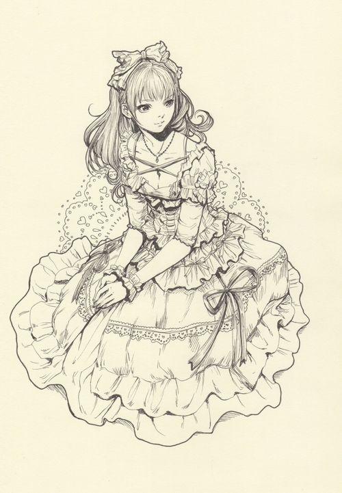 lolita, sketch, lineart, cute, art