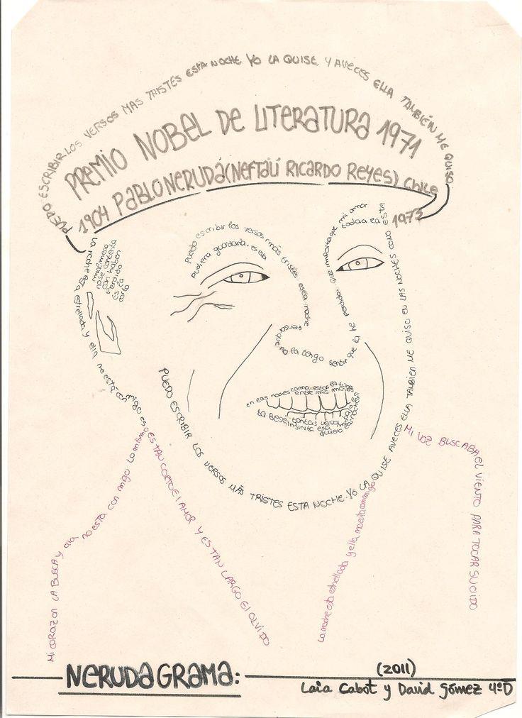 Caligrama Del Escritor Pablo Neruda Realizado Por Alumnos