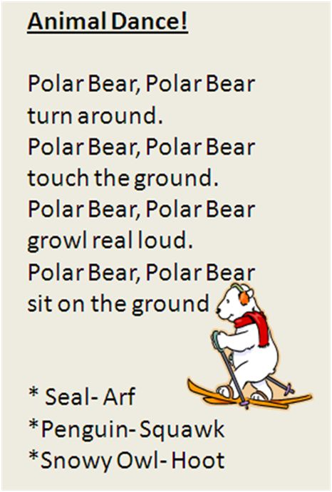 Polar Animal movement song. My one and two year olds LOVE it!