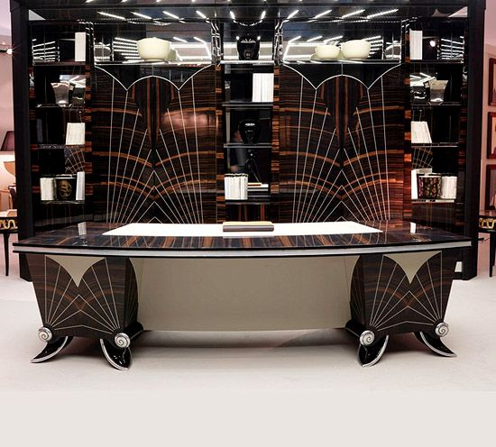 ART DECO STYLISED PRESIDENTIAL MACASSAR EBONY DESK ART ...