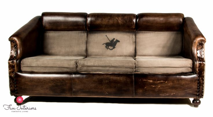 Amazing cotton&leather vintage sofa with POLO print