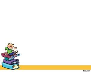 Powerpoint Templates for Teachers is a free white background for PowerPoint with a illustration of a young student over the reading books