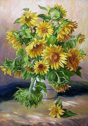 "pastel drawn sunflowers flowers | Sunflowers"" flower - oil painting"